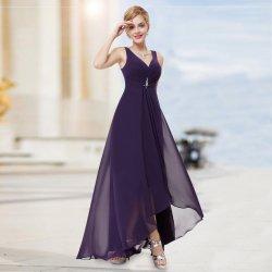 1ebeb9cd87f7 Dlouhé společenské šaty vpředu kratší fialová