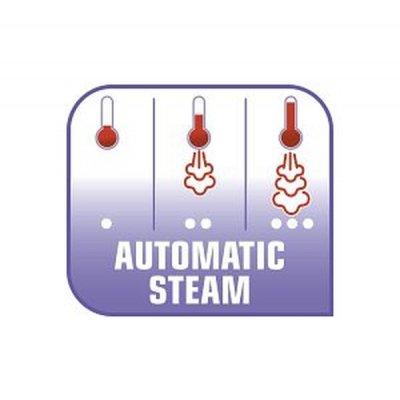 Nastavení Automatic Steam: volí správné množství páry pro každý druh oděvu