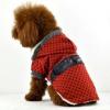 Kabát pre psov - bodkovaný červený s kožušinkou, XL SHOPAKVA