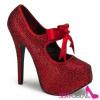 TEEZE-04R Extravagantní červené dámské lodičky na vysokém podpatku a platformě  ozdobné kameny 9f1d24ec00