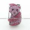 Luxusní stříbrný masivní dámský náramek medvídek panda růžový Swarovski krystal