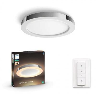 Hue LED White Ambiance Stropní koupelnové svítidlo Philips Adore BT 34184/11/P6 40W 2400lm 2200-6500K IP44 24V, chromové s dálkovým ovladačem a Bluetooth