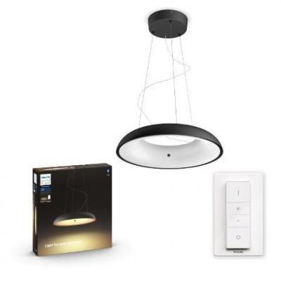 Hue LED White Ambiance Závěsné svítidlo Philips Amaze BT 40233/30/P6 39W 3000lm 2200-6500K 24V, černé s dálkovým ovladačem a Bluetooth