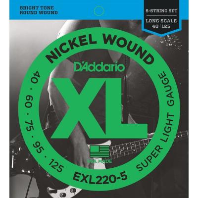 D'ADDARIO EXL220-5 Super Light - .040 - .125 struny pro baskytaru