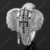 Luxusní velký stříbrný masivní dámský náramek slon bílý Swarovski krystal