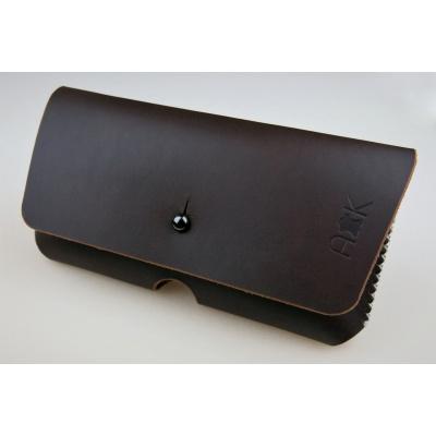Kožené pouzdro A-K pro Doogee Homtom S8, tm. hnědé na opasek (Pouzdro na pásek pro mobilní telefon Doogee Homtom S8 v barvě hnědé, černé a modré)