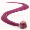Fialové vlasy k prodloužení - keratin, 50 cm, 25 pramenů (PURPLE)