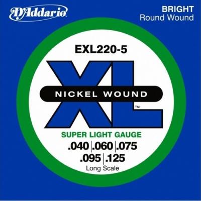 """D'Addario EXL220-5 - 040""""/125"""" (Struny pro pětistrunnou baskytaru )"""