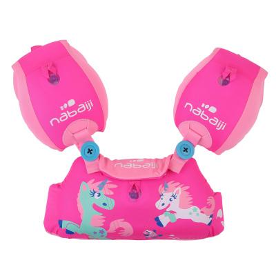 NABAIJI Dětský plavecký pás s rukávky Tiswim růžový s jednorožcem