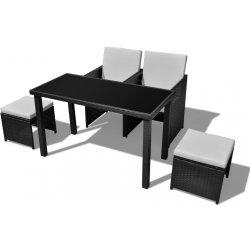 9d80a79397060 vidaXL 40834 Ratanový čierny jedálenský nábytok, 1 stôl, 2 stoličky,  taburetky