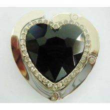 Háčik na kabelku - srdce čierne