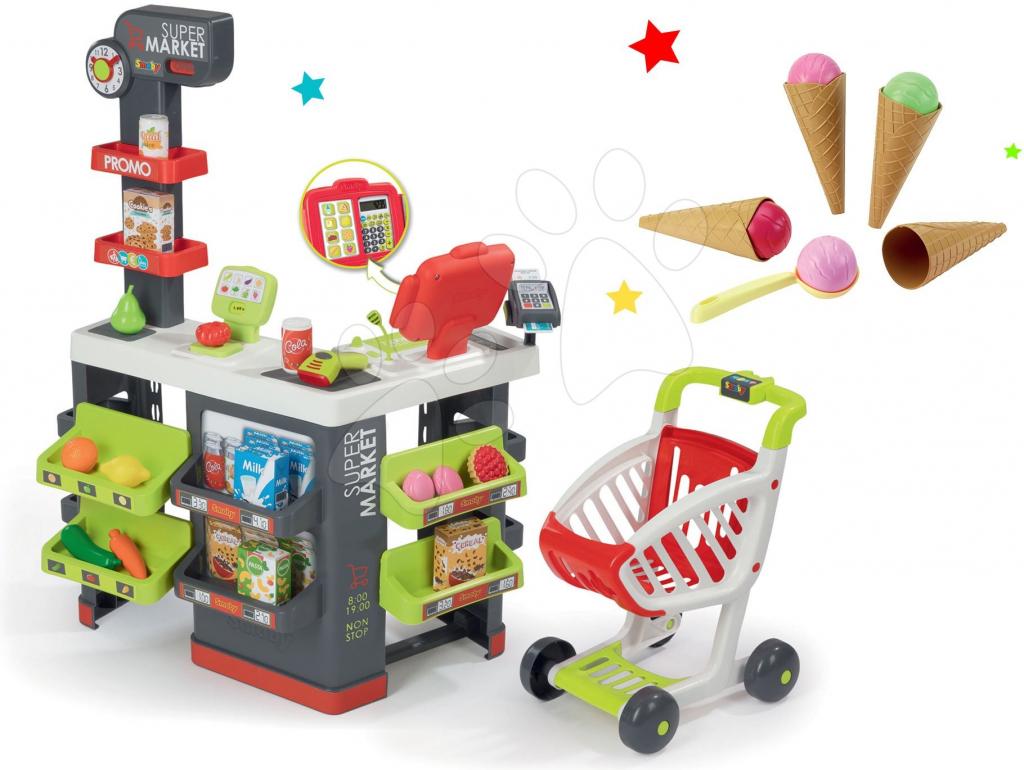 09616304a9d0 Detský obchodík Smoby set obchod s vozíkom Supermarket a zmrzlina s ...