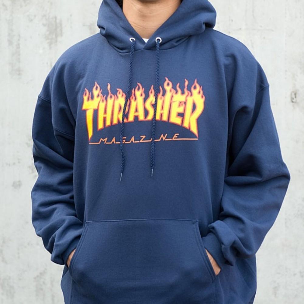Thrasher Flame Logo Hoodie Navy Blue 161c867d60f