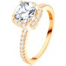 9910dd98d Šperky eshop Zlatý prsteň 585 ligotavý okrúhly zirkón v ozdobnom kotlíku  trblietavé línie GG113.14