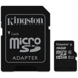 Kingston microSDHC 16GB UHS-I U1 + adapter SDC10G2/16GB