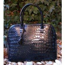kabelka lakovaná hadí vzor zlaté kovanie kufrík čierna bc44ccfc4be