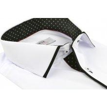 c6092ecb336c Pánska biela košeľa s čiernym podšitím BEVA KLASIK kr.rukáv