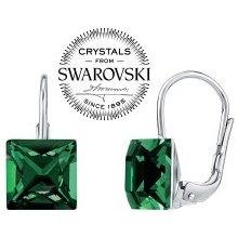 Swarovski Crystal SILVEGO strieborné náušnice tmavo zelené SILVEGOR31474G SILVEGOB31474G