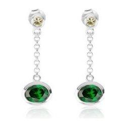 32d6525d2 Šperky eshop Visiace náušnice zo striebra žltý a smaragdovo zelený zirkón,  retiazka SP48.24