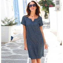 8e07b22becfe Blancheporte Džínsové šaty s krátkymi rukávmi modrá
