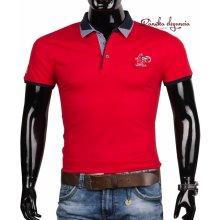 10971-6 Červené pánske tričko s gombíkovou légou