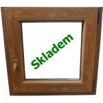 Soft plastové okno 90x90 cm zlatý dub/zlatý dub, otevíravé a sklopné