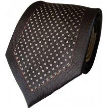 N.Ties Hnědo-béžová hedvábná kravata se vzorem