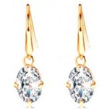 Šperky eshop náušnice v žltom zlate číre zirkónové ovály visiace na háčikoch GG105.13