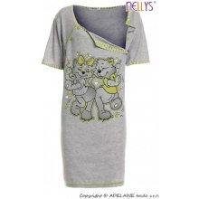 tehotenská, dojčiace nočná košeľa mačky sivá/zelená