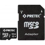 Pretec microSDXC 64GB UHS-I U1 + adapter PC10MXC64G
