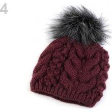 42ecc4921 Zimná pletená čiapka s brmbolcom šedá 1ks