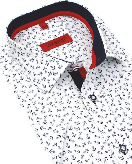 44a5918ae716 Pánska košeľa Venergi Slim Trendová košeľa kr.rukáv KR255 ...