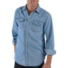 Blancheporte Riflová košeľa zapratá modrá
