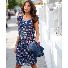 Blancheporte Volánové šaty s potlačou kvetín nám.modrá ružová 08d87c96972