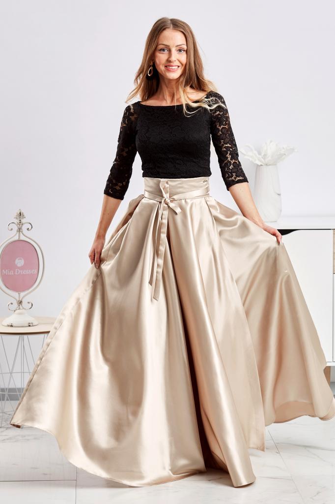 Dámska sukňa Zlatá saténová sukňa s rozparkom - Zoznamtovaru.sk 03743e66c98