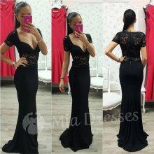 Dlhé spoločenské šaty s čipkou čierna