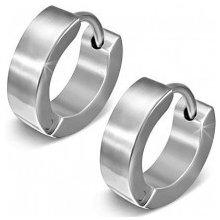 Šperky eshop náušnice z ocele lesklé kruhy v striebornej farbe, kĺbové zapínanie, Z37.12