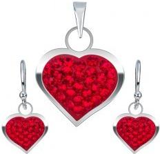08b71deb0 Šperky eshop Strieborná sada náušnice a prívesok červené zirkónové srdce  U5.20
