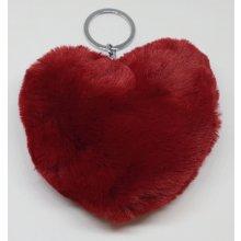 Prívesok na kľúče Plyšová Srdce Tmavočervená e22945bdda1