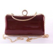 dámska spoločenská kabelka lakovaná a ozdobená so štrasmi ZL2042 bordová 971fc540529
