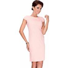 Broskyňovej elegantné šaty s krátkymi rukávmi 37-1 917e4dcc36c