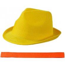 Letný žltý klobúk s čiernym lemom