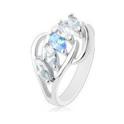 98532a07a Šperky eshop Lesklý prsteň striebornej farby oblúčiky zrnká čírej a modrej  farby R41.27