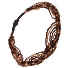 Šperky eshop náramok zo zlatohnedých a čokoládovohnedých šnúrok vzor vĺn  S44.19 f884b2536b3