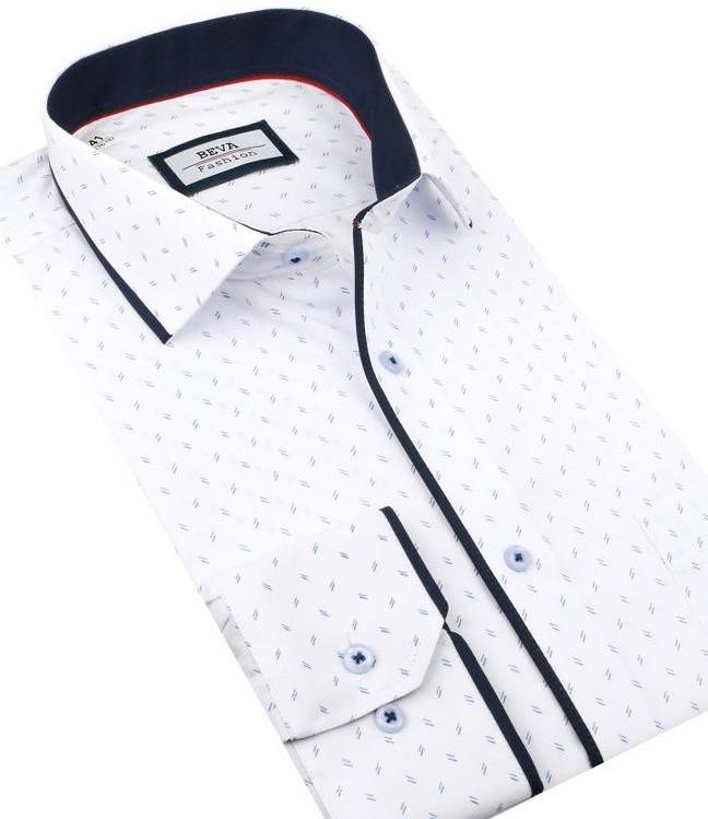 868171d2df8b Beva Slim Elegantná biela košeľa modrý vzor 2T136 od 30