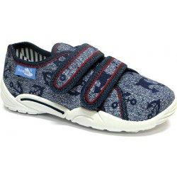 Ren But Chlapčenské papučky na suchý zips s potlačou kotvičiek modré ... e986123a542