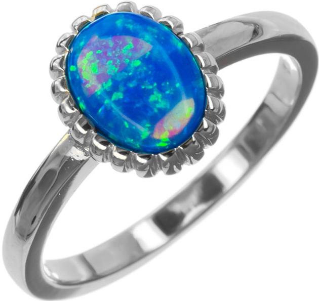 5ceebddf7 Prsteň Argento Strieborný prsteň s modrým opálom R59 7259759 ...
