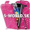 Kožený obal Samsung Galaxy Ace 2 - Diamond Flip tmavo-ružová