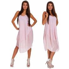 0fd8448ef5cb Nádherné módne letné bavlnené šaty BOHO ITALY TC665 Ružový