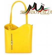 Made In Italy kožená kabelka batoh 113 žltá 8ce1d329b08